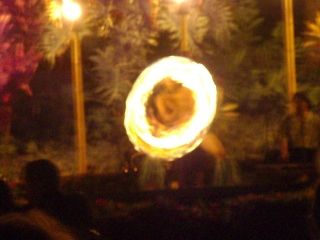 Fire dancer at a luau on Maui