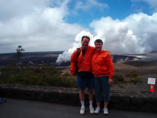 """We were here"" photo at Kilauea's main vent"