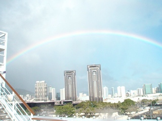 Rainbow over the Honolulu skyline the day our cruise sailed
