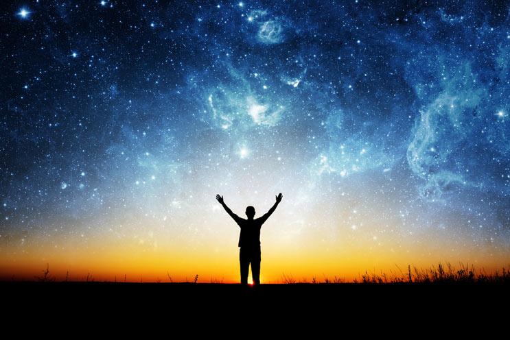 man_stars_horizon_silhouette